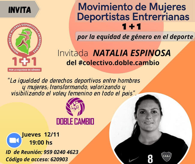 El Movimiento de Mujeres Deportistas Entrerrianas invita a un conversatorio con Natalia Espinosa, exjugadora de Selección Argentina de Vóley e impulsora del Colectivo Doble Cambio que vela por la equidad de género en el deporte.