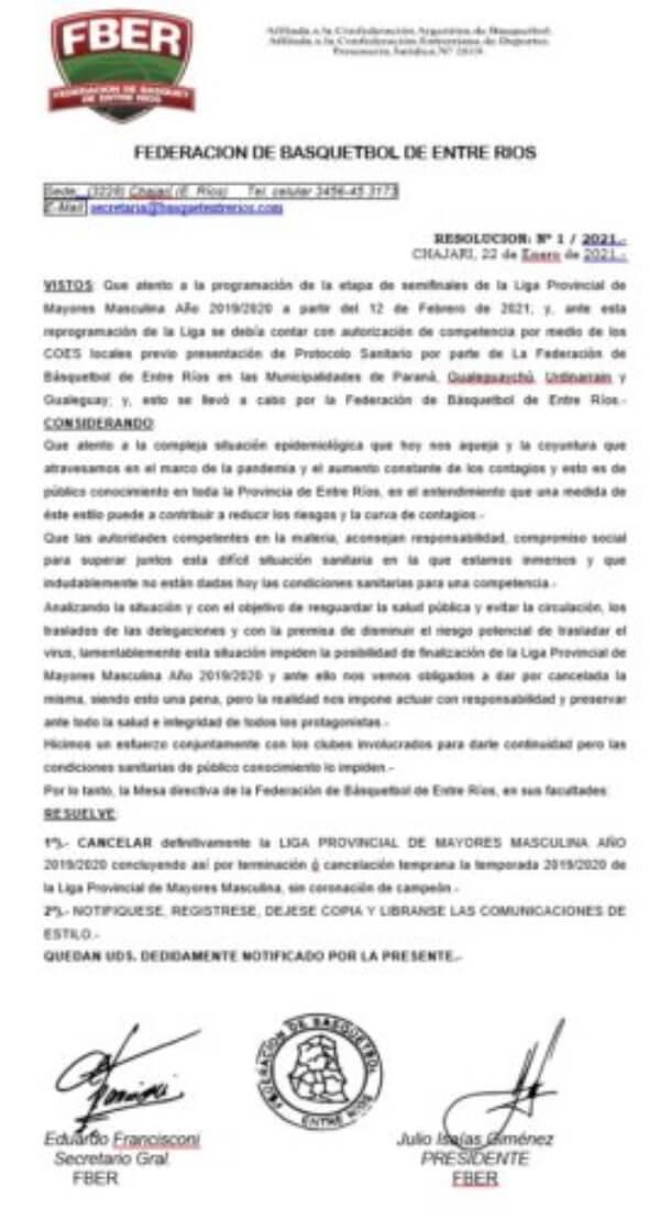 En las últimas horas, autoridades de la FBER cancelaron la Liga Provincial. Fue de acuerdo a la situación actual de la provincia en el marco de la pandemia causada por el covid-19. Debían disputarse encuentros por las semifinales.